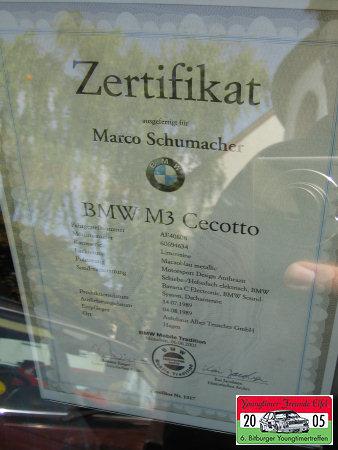 (c)kfz-kultur.de Zertifikat BMW M3 Cecotto Bitburg 2005