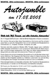 Autojumble für MG Freunde und andere britischen Automarken