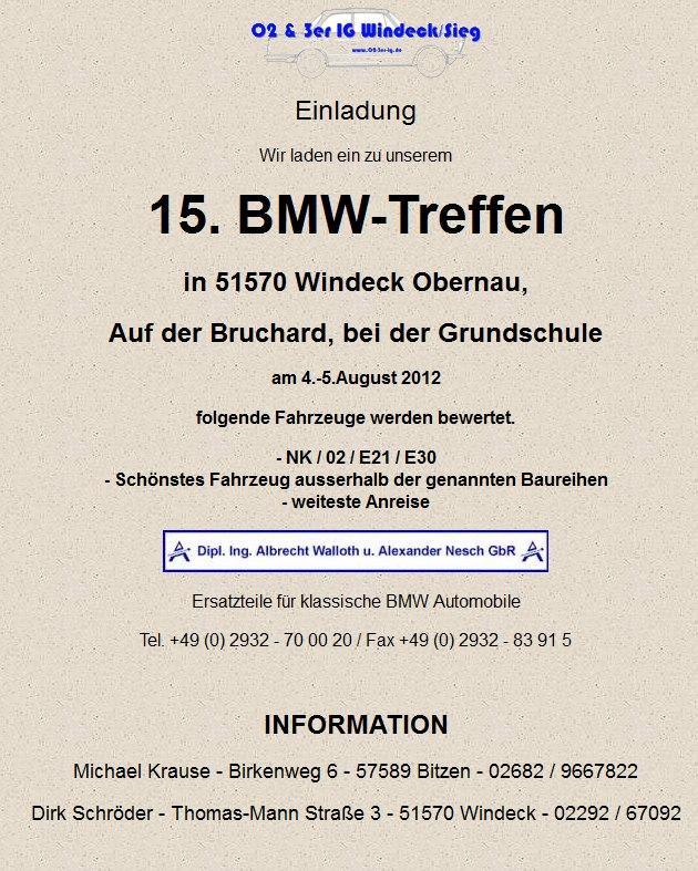 einladung 15. bmw treffen der 02 & 3er ig windeck / sieg, Einladung